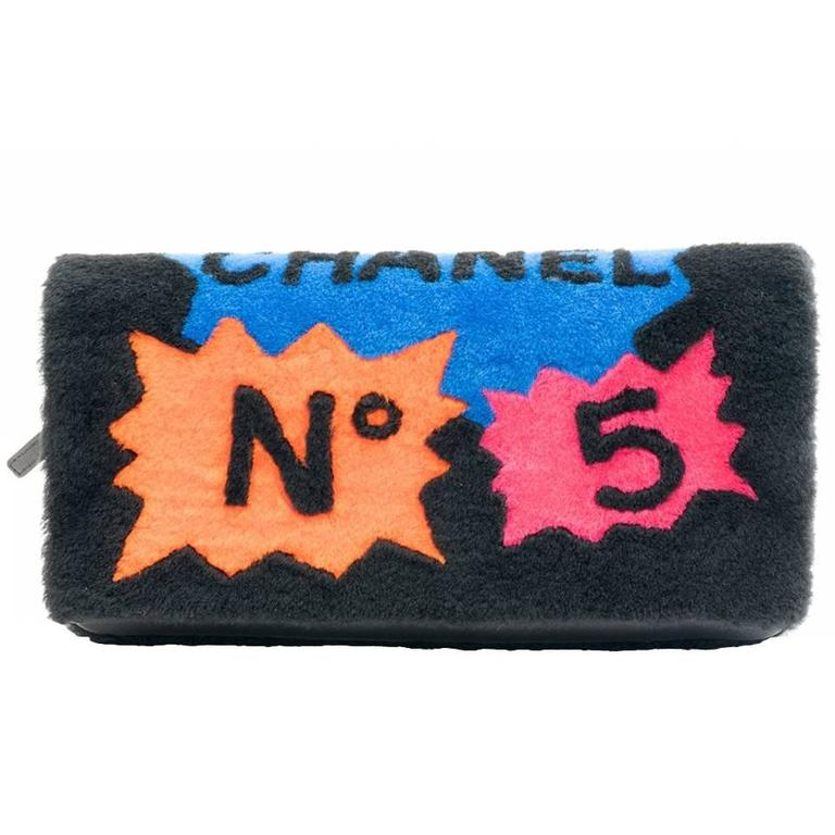 Chanel Shearling Patchwork Comic Runway Handbag Multi Clutch 1
