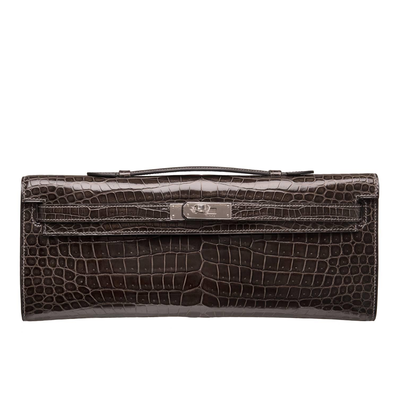 crocodile hermes bag - Hermes Graphite Shiny Porosus Crocodile Kelly Cut at 1stdibs