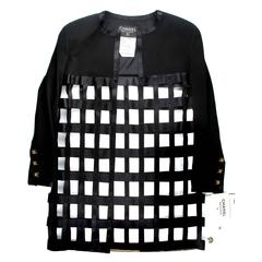 Never Worn Vintage 1980s Chanel Boutique Collection 29 Black Cage Coat