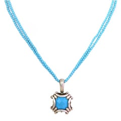 Robin Rotenier Turquoise and Sterling Silver Beaded Pendant Necklace