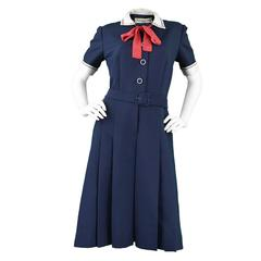 1960s Christian Dior Numbered Demi Couture Nautical Pussybow Dress