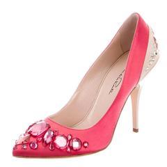 Oscar de la Renta NEW Pink Satin Suede Crystal Embellished Pumps Shoes in Box