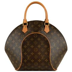 Louis Vuitton 'Sac Ellipse' GM 26cm Logo Bag with Natural Leather Trim & Gold HW