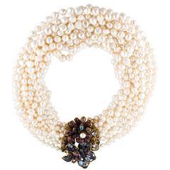 Iradj Moini Gem Floral Detachable Pin Clasp Multi Strand Cultured Pearl Necklac