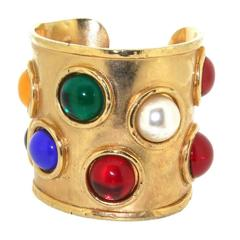 Edouard Rambaud Paris Vintage Gold Multi-Coloured Stone Cuff Bracelet