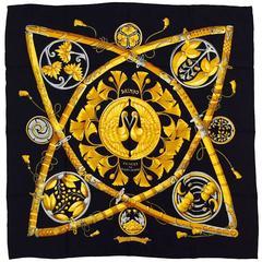 Hermes Princes du Soleil Levant Black Silk Jacquard Carre-Francoise Faconnet