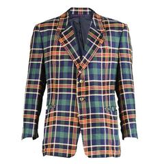 1980s Givenchy Mens Checked Linen Blazer