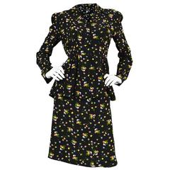 1970s Jeff Banks Floral Rayon Peplum Skirt Suit