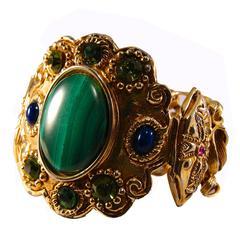 Rare Christian Lacroix Gilt Metal Byzantine Bracelet with Gemstones & Chain 80s