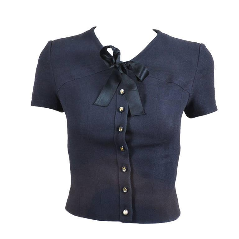 """Vintage Chanel Spring 1995 Navy Cap Sleeve Woven Crepe """"CC"""" Buttoned Bow Tie Top 1"""