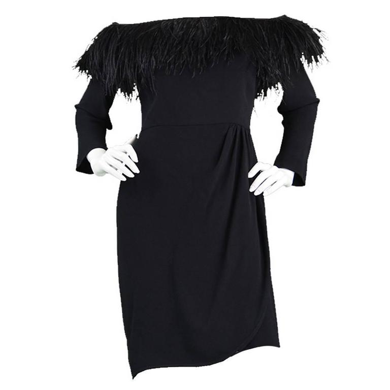 1980's Valentino Ostrich Feather Little Black Dress 1