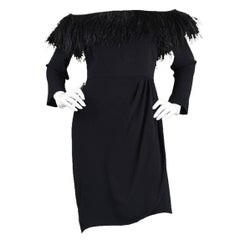 Vintage Valentino 1980s Ostrich Feather Little Black Dress