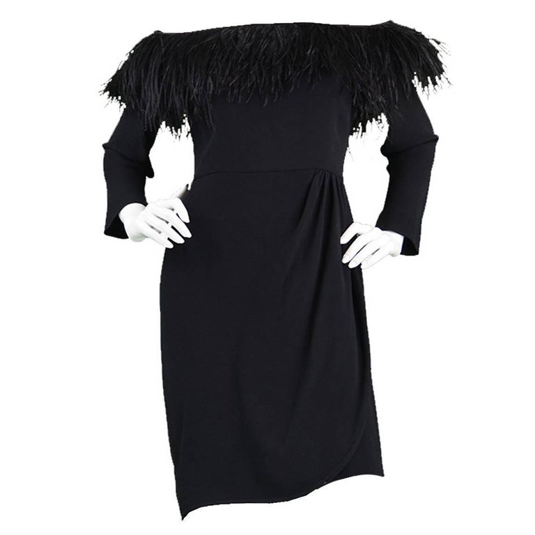Vintage Valentino 1980s Ostrich Feather Little Black Dress For Sale