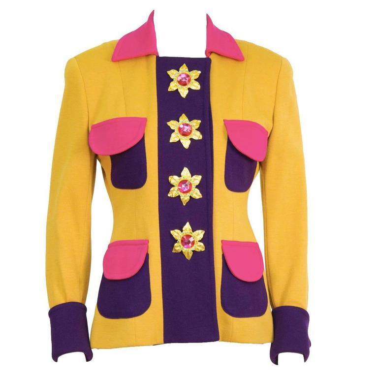 Circa 1990 Gemma Kahng Multi Color Skirt Suit 1