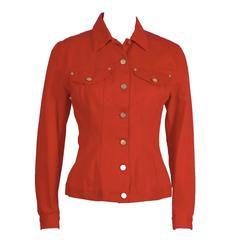 1980's Gaultier Red Denim Jean Jacket