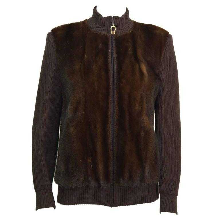 1970's Chocolate Brown Mink Bomber Jacket
