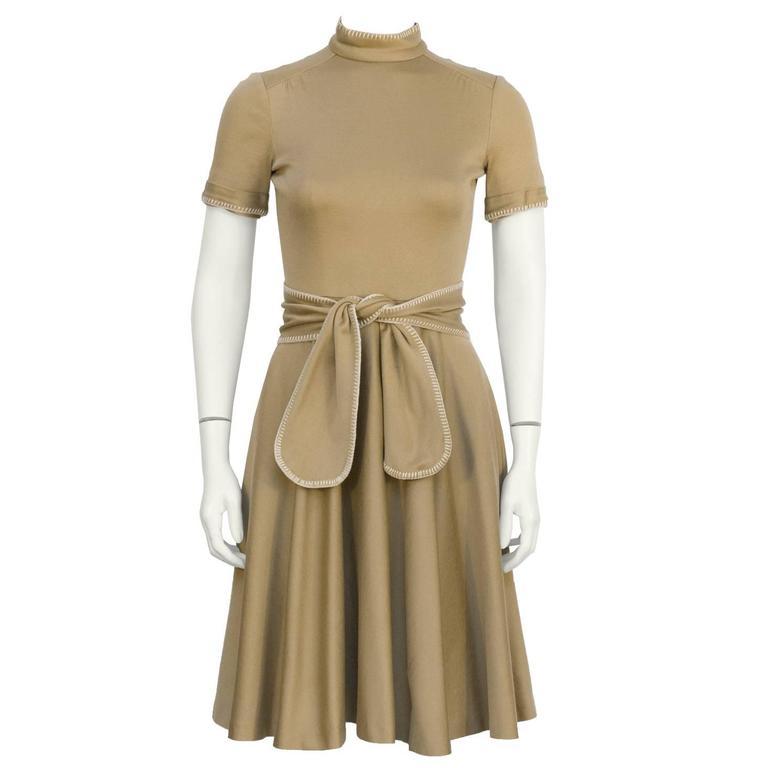 1970's Geoffrey Beene Brown Whipstitch Dress with Belt