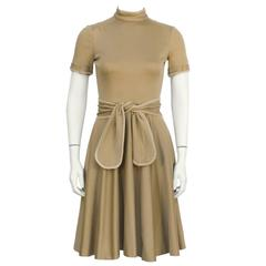 1970's Geoffrey Beene Brown Whipstitch Dress with Belt