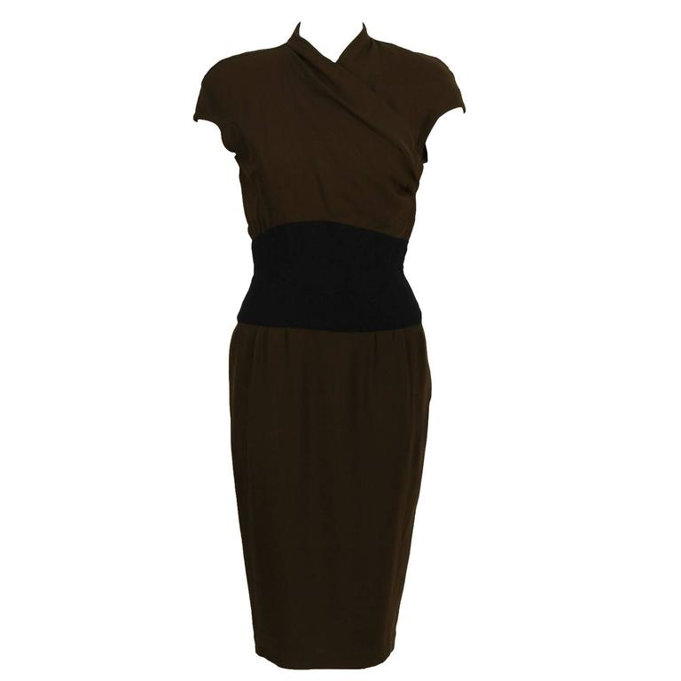 1980's Thierry Mugler Brown Dress with Black Waistband