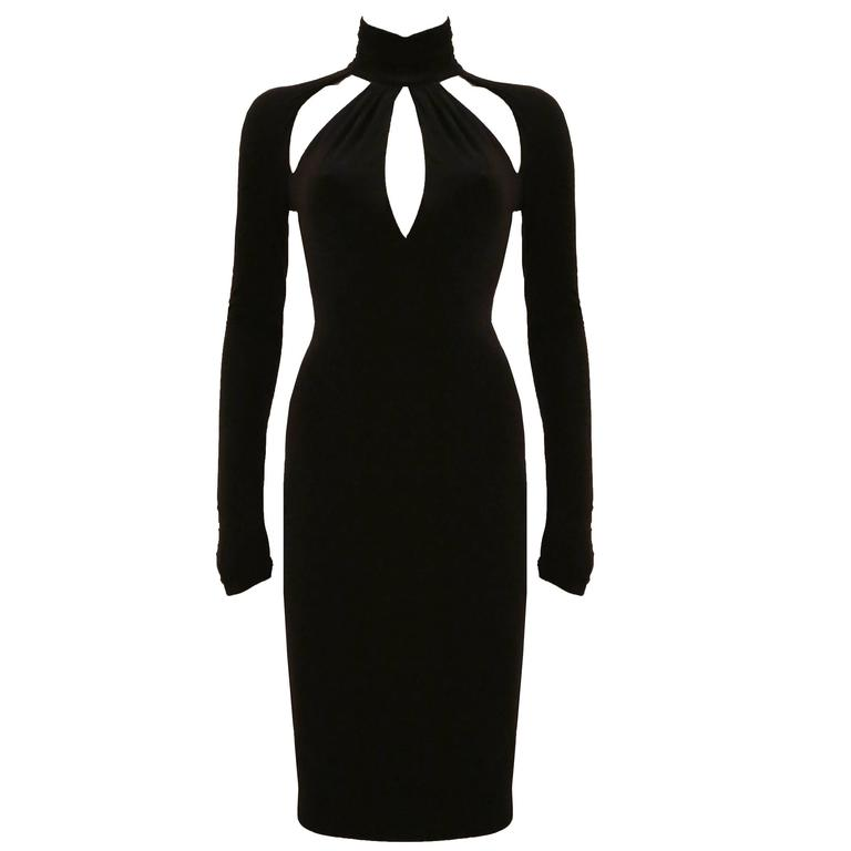 Versace black bodycon evening dress with cut outs For Sale