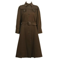 1960's Fabiani Brown Gabardine Spring Weight Coat