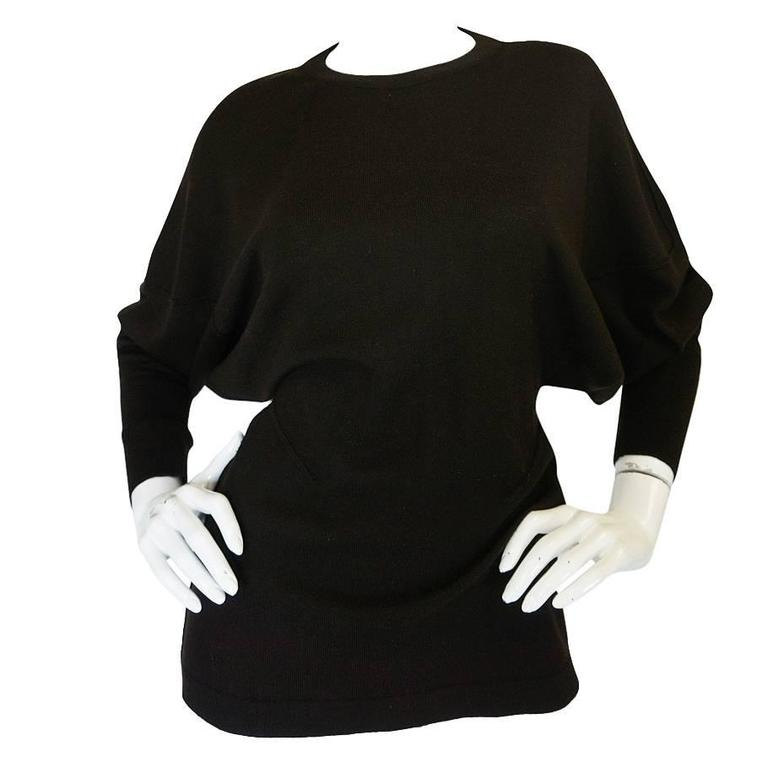 Rare 1980s Chocolate Azzedine Alaia Knit Sweater For Sale