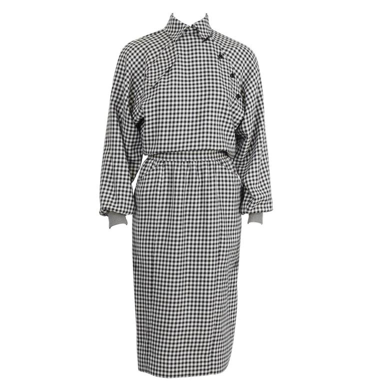 1980's Ungaro Black and White Houndstooth Wool Dress 1