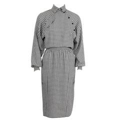1980's Ungaro Black and White Houndstooth Wool Dress