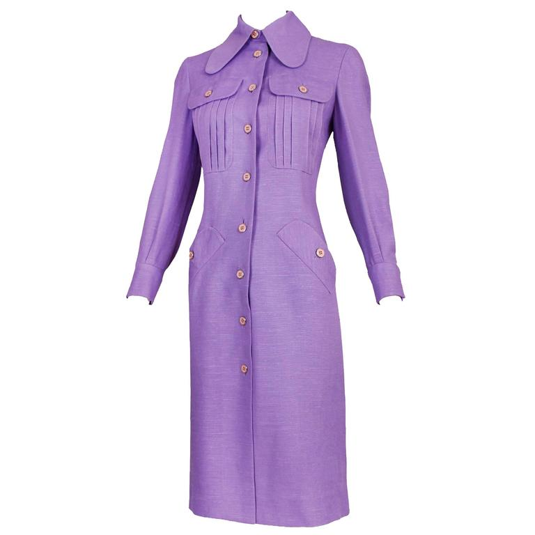 1970's Donald Brooks Lilac Linen Button Down Day Dress 1