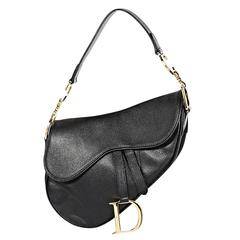 Black Christian Dior Leather Saddle Bag
