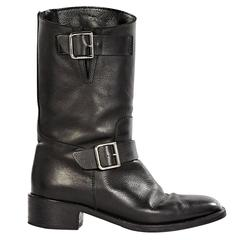 Black Chanel Leather Moto Boots