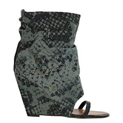 Green & Black Isabel Marant Snake-Print Canvas Ankle Boots