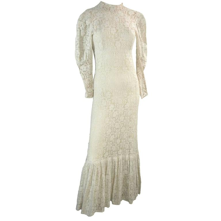 Victorian Antique Crochet Lace Vintage Dress High Collar Wedding Gown Size 2 1