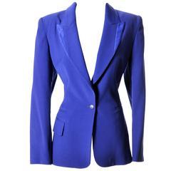 Claude Montana Wool Vintage Blazer Jacket Satin Trim Size 42 8