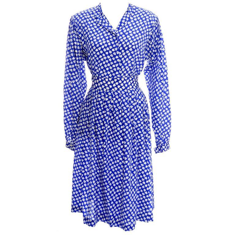 Vintage Ferragamo Blue 2 piece Skirt & Blouse Silk Dress Spades Novelty Print