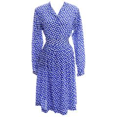 Vintage Ferragamo Blue 2 piece Skirt & Blouse Silk Dress Spades Novelty Print