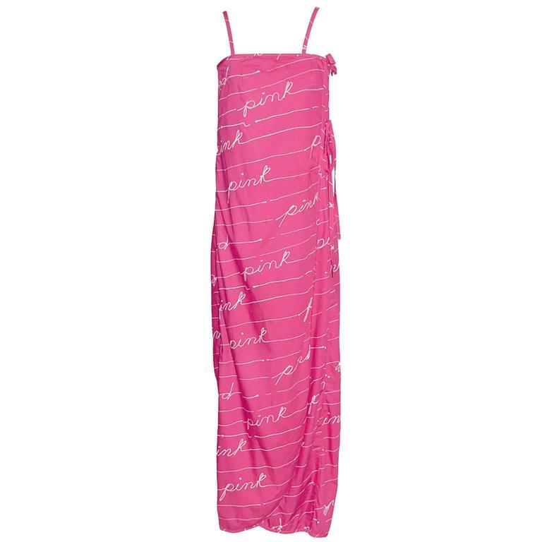 1970s Bill Tice Dress I Magnin Vintage Dresses Pink Cotton Maxi Novelty Print
