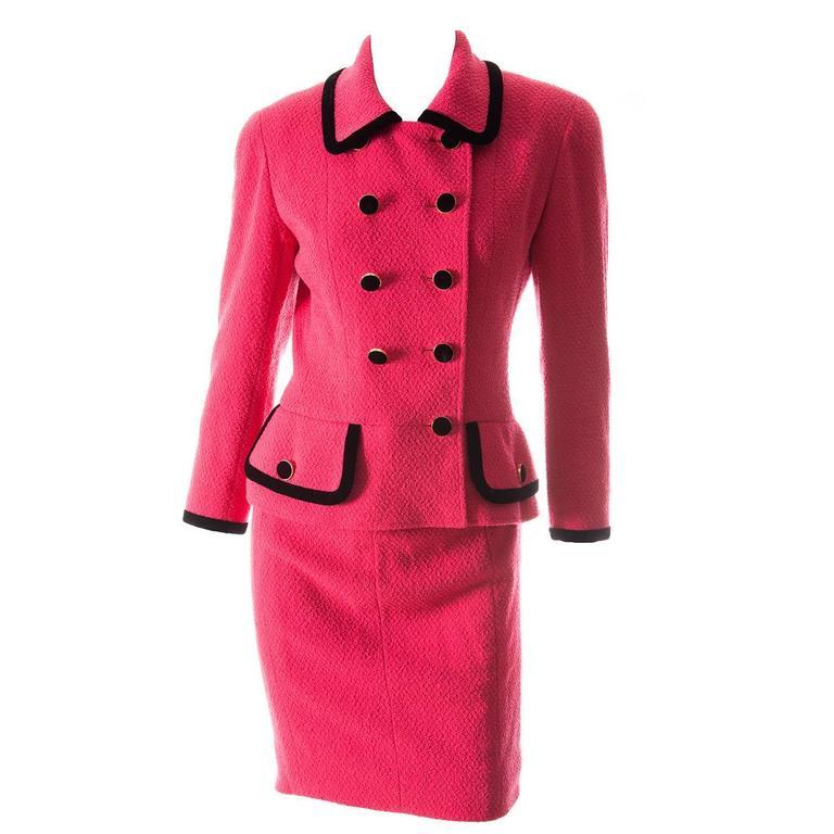 Chanel 1996 Velvet Trim Skirt Suit 1