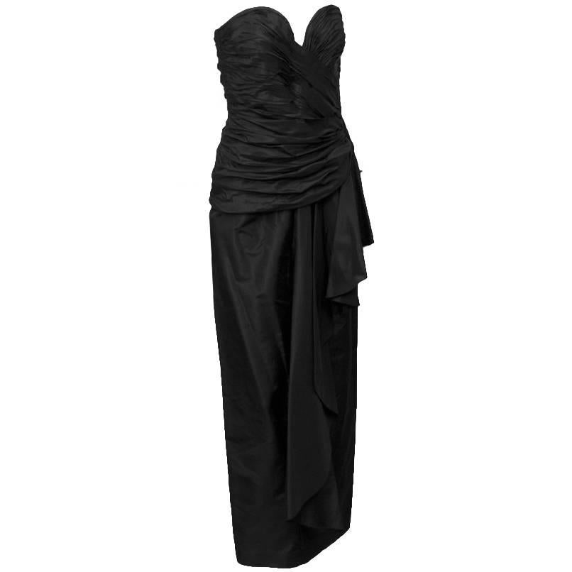 1980's Vicky Tiel Black strapless gown