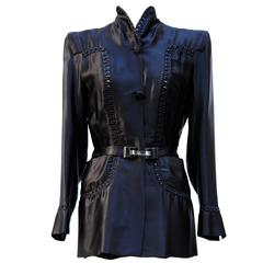 1935 circa Nina Ricci Haute Couture Gorgeous Black Satin Jacket