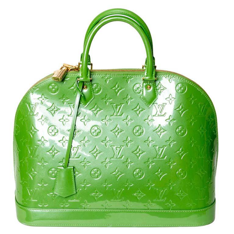 Louis Vuitton Alma Monogram Vernis Gm Satchel in Pale Green 1