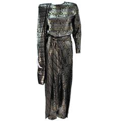 RON LEAL Metallic Lame Bronze Ensemble with Scarf & Wrap Size 6-8
