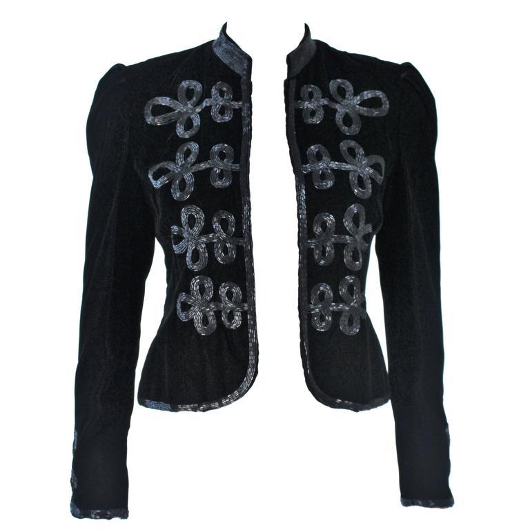 OSCAR DE LA RENTA Black Velvet Beaded Jacket Size 4 1