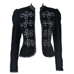 OSCAR DE LA RENTA Black Velvet Beaded Jacket Size 4