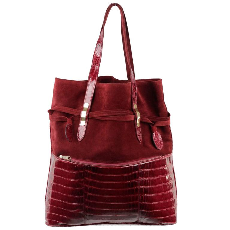 VINTAGE Burgundy Suede & Crocodile TOTE Shoulder Bag SHOPPING BAG