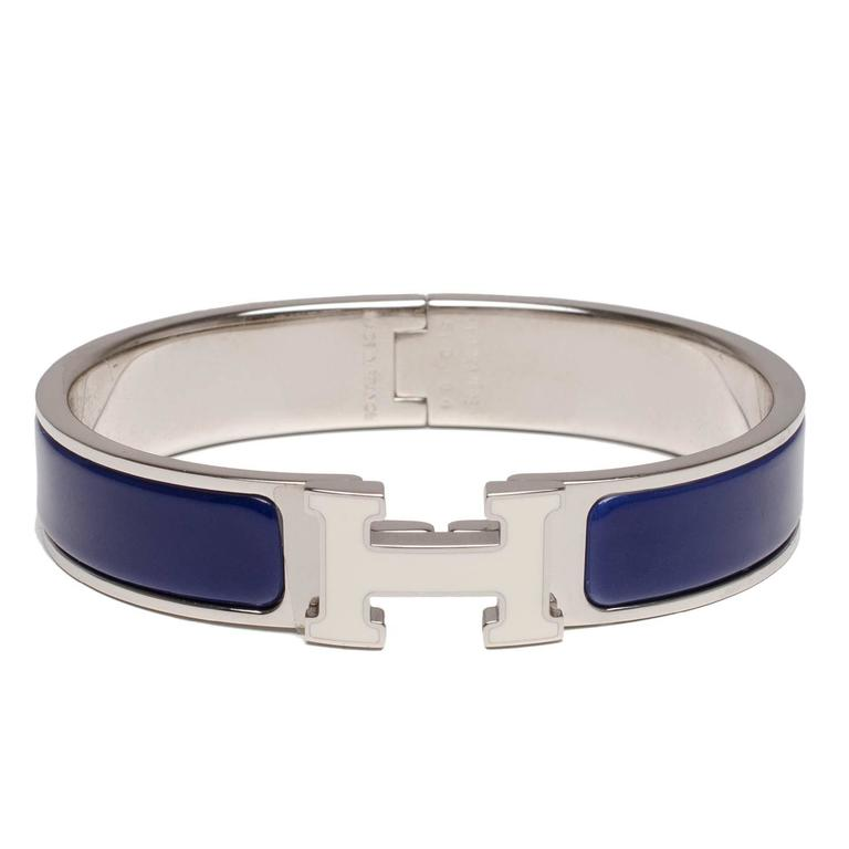 Hermes Blue/White Enamel H Clic Clac H Narrow Enamel Bracelet PM For Sale