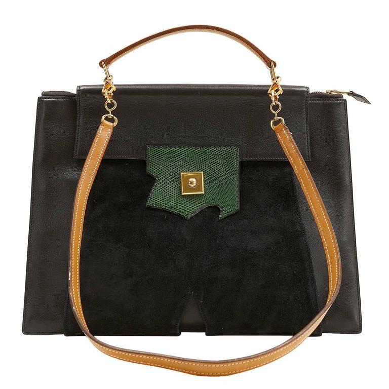 Hermès Black Leather and Lizard Brief Case 1