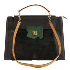 Hermès Black Leather and Lizard Brief Case