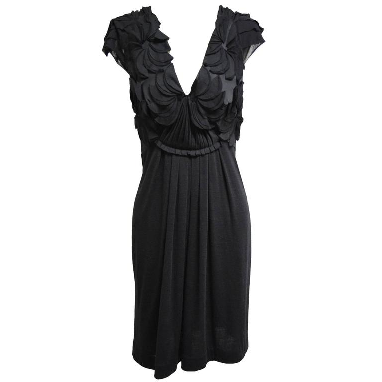 Alberta Ferretti Black Draped Floral Dress at 1stdibs