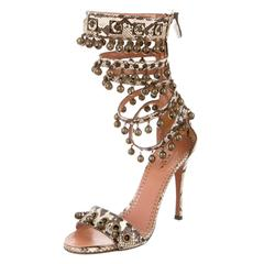 Alaia NEW and SOLD OUT Snakeskin Nude Brown Metal Bells High Heels Sandals